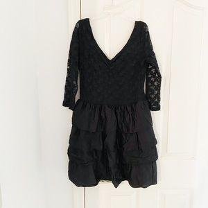 H&M Black Lace Ruffle Cocktail Dress